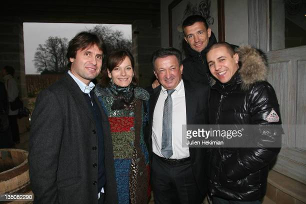 Fabrice Santoro Cecilia Hornus Maurice Giraud Eric Carriere and Faudel attend the Hospices de Beaune wine annual auction at Chateau de Pommard on...