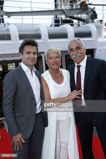Fabrice Santoro Frederique Bahrami and Mansour Bahrami attend 'Trophee des Legendes' Dinner at Le Paquebot on June 7 2017 in Paris France