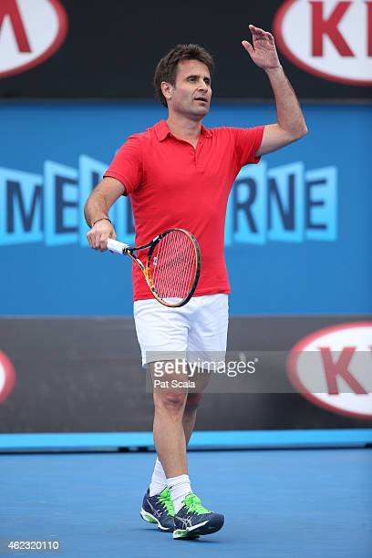 Fabrice Santoro of France in action in their legends doubles match during day nine of the 2015 Australian Open at Melbourne Park on January 27 2015...