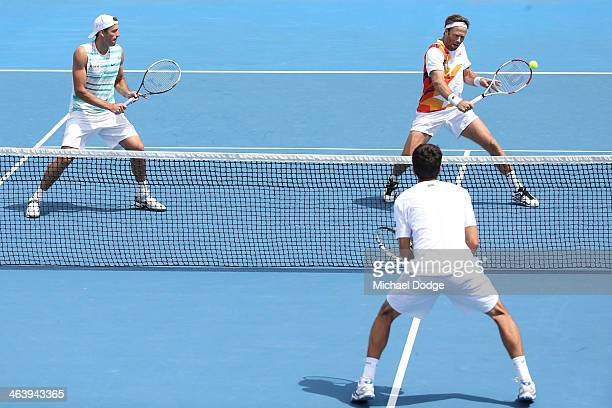 Fabrice Santoro of France plays a backhand in his third round doubles match with Lukasz Kubot of Poland against Ivan Dodig of Croatia and Marcelo...
