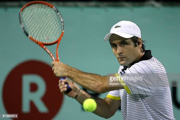 Fabrice Santoro of France returns a shot in his match against Lleyton Hewitt of Australia during day four of the Rakuten Open Tennis tournament at...