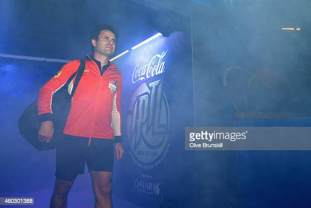 Fabrice Santoro of the Indian Aces walks out on court to play in his teams match against the Singapore Slammers during the CocaCola International...