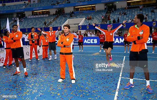 Fabrice SantoroAna IvanovicGael MonfilsSania MirzaRohan Bopanna and Cedric Pioline of the Indian Aces dance after becoming winners of the first IPTL...