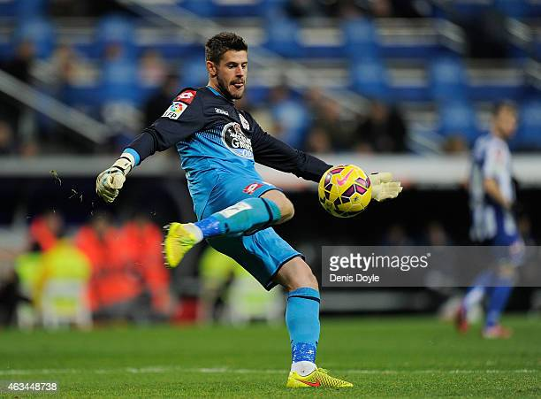 Fabricio Agosto ''Fabri'' of RC Deportivo La Coruna clears the ball during the La Liga match between Real Madrid CF and RC Deportivo La Coruna at...