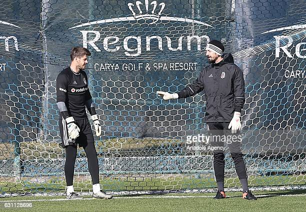 Fabricio Agosto of Besiktas and Tolga Zengin of Besiktas attend a training session within his team's midseason training camp in Antalya Turkey on...
