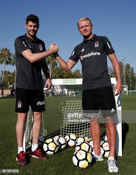 Fabricio Agosto Ramirez and Andreas Beck of Besiktas pose for a photo before a training session of the team in Marbella Spain on July 24 2017