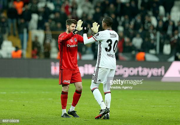 30 Fabricio Agosto Ramirez and Marcelo Guedes of Besiktas celebrate after winning the Turkish Spor Toto Super Lig football match between Besiktas and...