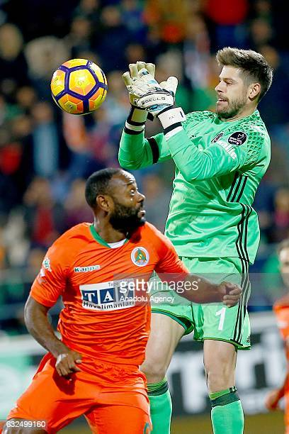 Fabricio Agosto Ramirez goalkeeper of Besiktas in action during the Turkish Spor Toto Super Lig match Aytemiz Alanyaspor and Besiktas in Alanya...