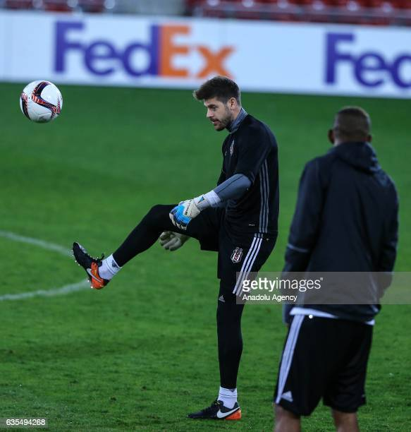 Fabricio Agosto Ramirez of Besiktas attends a training session ahead of UEFA Europa League Round of 32 match between Hapoel BeerSheva and Besiktas at...