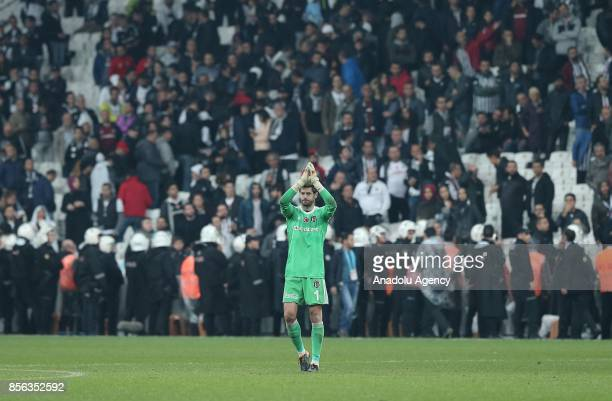 Fabricio Agosto Ramirez of Besiktas celebrates after during the Turkish Super Lig soccer match between Besiktas and Trabzonspor at Vodafone Park in...
