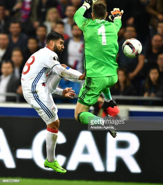 Fabricio Agosto Ramirez of Besiktas in action during the UEFA Europa League first leg quarter final football match between Olympique Lyonnais and...