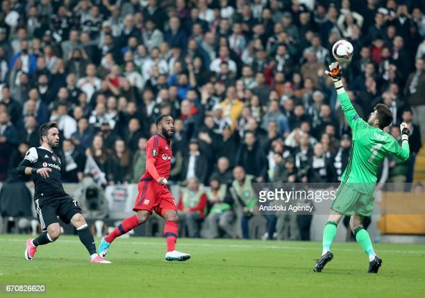 Fabricio Agosto Ramirez of Besiktas in action during the UEFA Europa League quarter final second match match between Besiktas and Olympique Lyonnais...