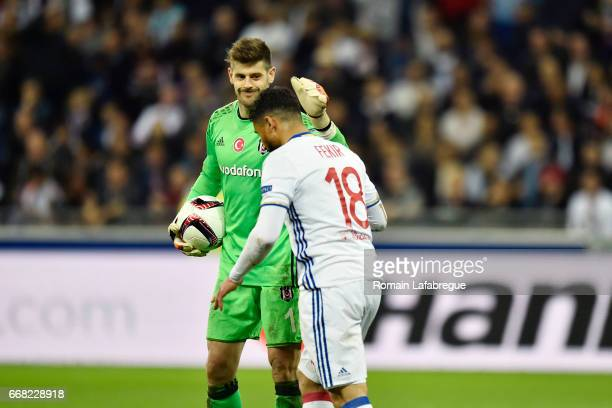 Fabricio Agosto Ramirez of Besiktas Nabil Fekir of Lyon during the Uefa Europa League quarter final first leg match between Olympique Lyonnais Lyon...
