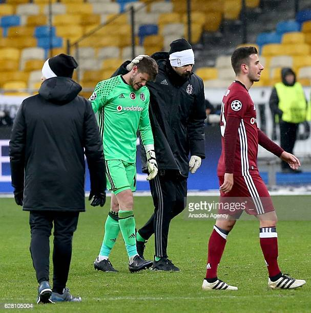 Fabricio and Tolga Zengin of Besiktas JK get upset during the UEFA Champions League football match between FC Dynamo Kiev and Besiktas JK at the...
