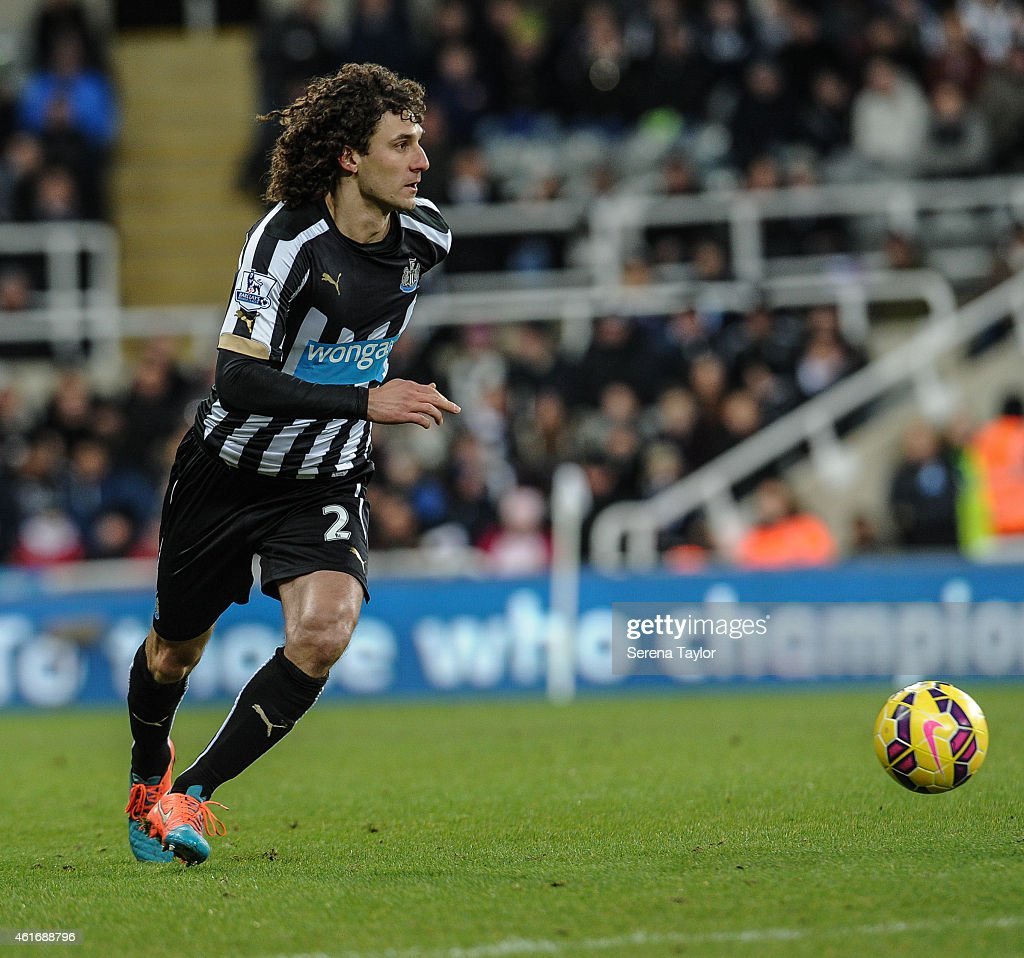 Fabricio Coloccini of Newcastle controls the ball during the Barclays Premier League match between Newcastle United and Southampton at St.James' Park on January 17, 2015, in Newcastle upon Tyne, England.