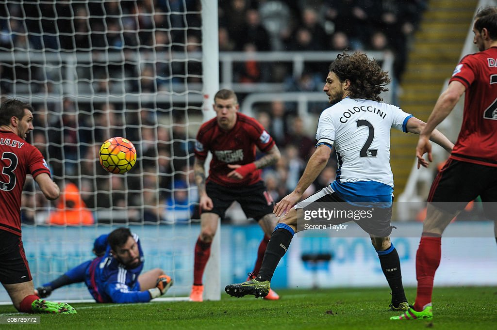 <a gi-track='captionPersonalityLinkClicked' href=/galleries/search?phrase=Fabricio+Coloccini&family=editorial&specificpeople=469707 ng-click='$event.stopPropagation()'>Fabricio Coloccini</a> of Newcastle (#2) looks at the ball as it is deflected from the goal during the Barclays Premier League match between Newcastle United and West Bromwich Albion at St.James' Park on February 6, 2016, in Newcastle upon Tyne, England.