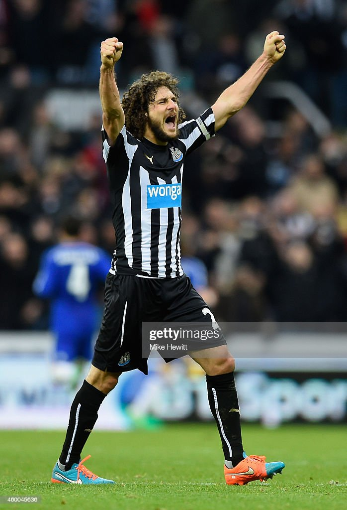 Fabricio Coloccini of Newcastle United celebrates following his teams during the Barclays Premier League match between Newcastle United and Chelsea...