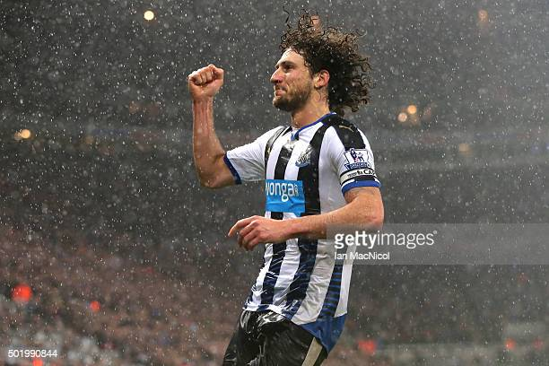 Fabricio Coloccini of Newcastle United celebrates scoring his team's first goal during the Barclays Premier League match between Newcastle United and...