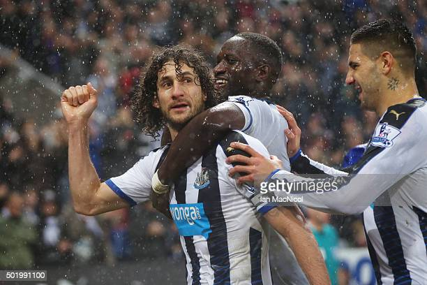 Fabricio Coloccini of Newcastle United celebrates scoring his team's first goal with his team mates during the Barclays Premier League match between...