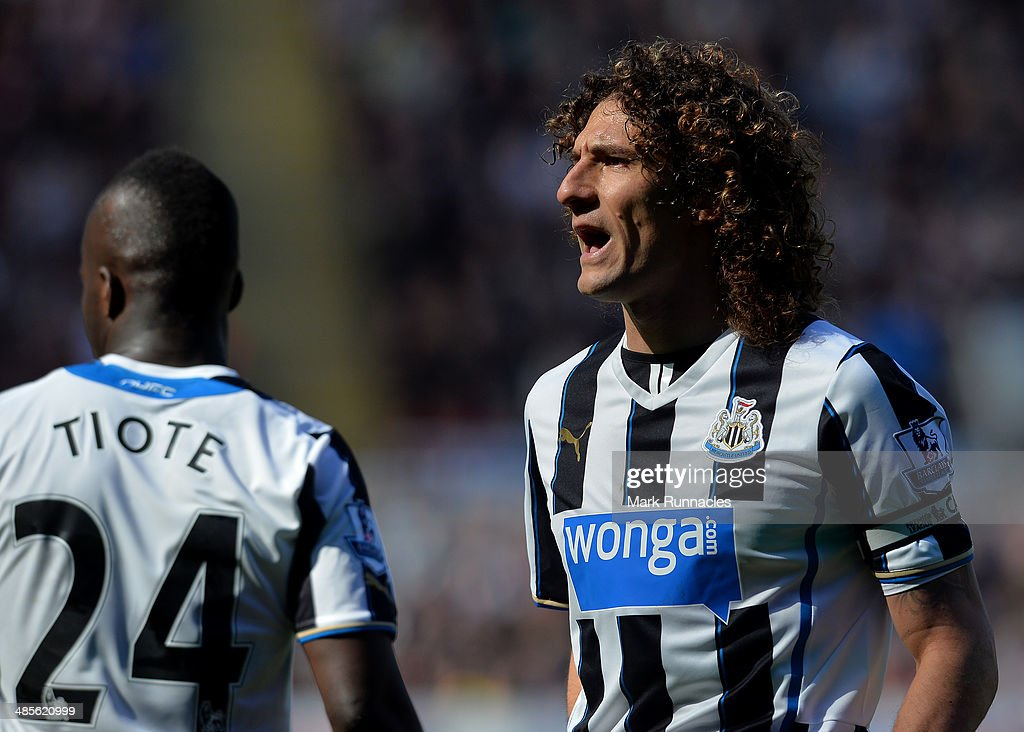<a gi-track='captionPersonalityLinkClicked' href=/galleries/search?phrase=Fabricio+Coloccini&family=editorial&specificpeople=469707 ng-click='$event.stopPropagation()'>Fabricio Coloccini</a> of Newcastle United in action during the Barclays Premier League match between Newcastle United and Swansea City at St James Park on April 19, 2014 in Newcastle Upon Tyne, England.