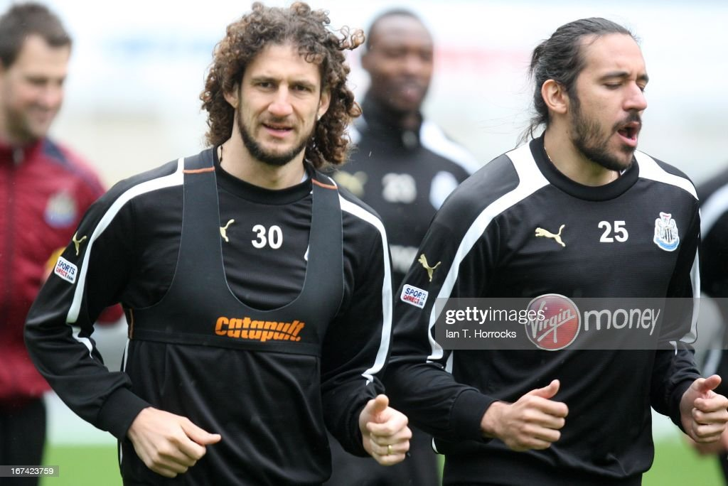 Fabricio Coloccini (left) with Jonas Gutierrez during a Newcastle United training session at St James' Park on April 25, in Newcastle upon Tyne, England.