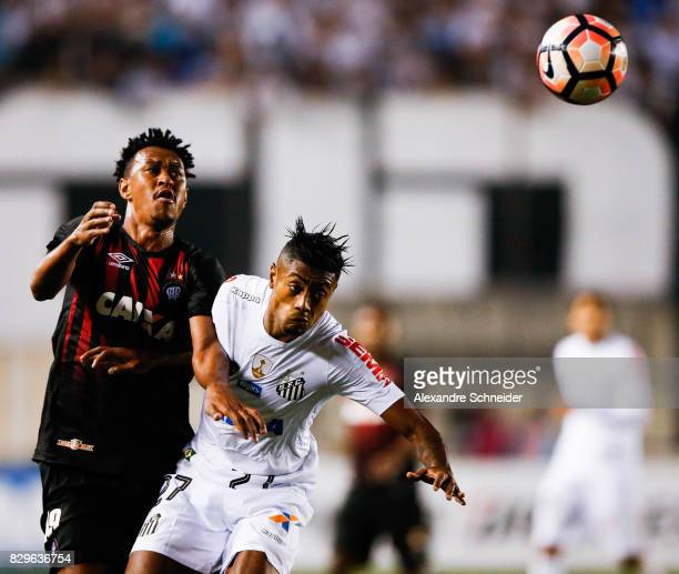 Fabricio of Atletico PR and Bruno Henrique of Santos in action during the match between Santos and Atletico PR for the Copa Bridgestone Libertadores...