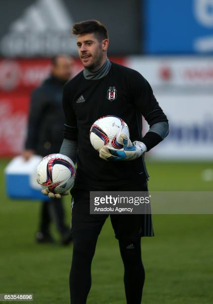 Fabricio of Besiktas attends a traning session at Nevzat Demir Facilities ahead of the UEFA Europa League Round of 16 football match between Besiktas...