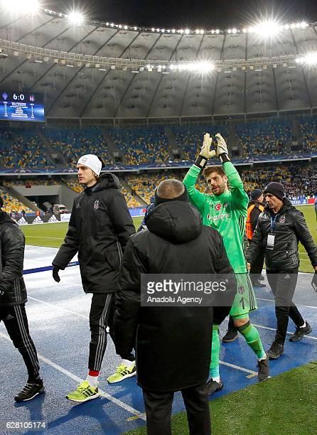 Fabricio of Besiktas JK greets supporters after the UEFA Champions League football match between FC Dynamo Kiev and Besiktas JK at the Olympiyski...