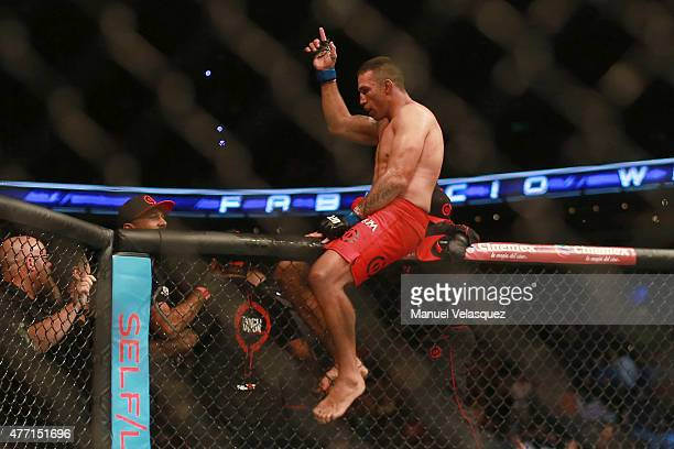 Fabricio Werdum celebrates after his victory in a UFC Heavyweight Championship Fight between Cain Velasquez and Fabricio Werdum at Arena Ciudad de...