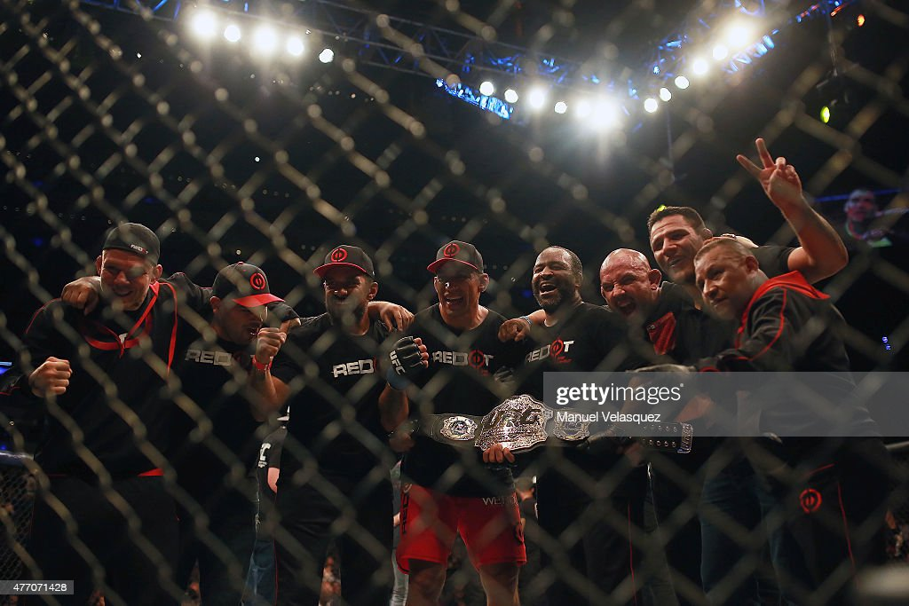 Fabricio Werdum celebrates with his teammates after defeating Cain Veasquez in a UFC Heavyweight Championship Fight between Cain Velasquez and Fabricio Werdum at Arena Ciudad de Mexico on June 13, 2015 in Mexico City, Mexico.