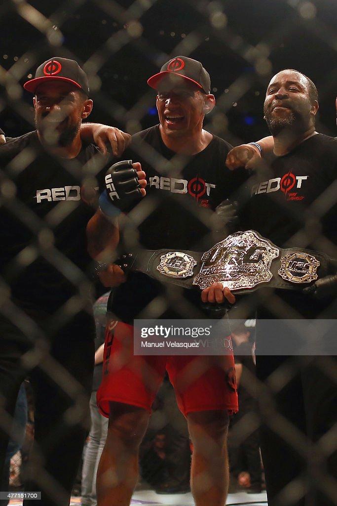 Fabricio Werdum celebrates with his teammates his victoryin a UFC Heavyweight Championship Fight between Cain Velasquez and Fabricio Werdum at Arena Ciudad de Mexico on June 13, 2015 in Mexico City, Mexico.