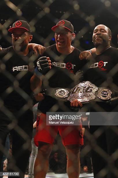 Fabricio Werdum celebrates with his teammates his victoryin a UFC Heavyweight Championship Fight between Cain Velasquez and Fabricio Werdum at Arena...