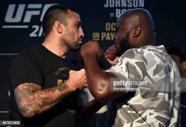 Fabricio Werdum of Brazil and Derrick Lewis face off during the UFC 216 Ultimate Media Day on October 4 2017 in Las Vegas Nevada