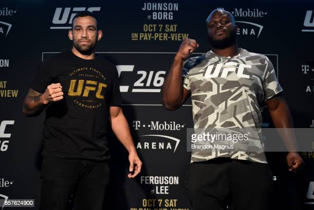 Fabricio Werdum of Brazil and Derrick Lewis pose for the media during the UFC 216 Ultimate Media Day on October 4 2017 in Las Vegas Nevada