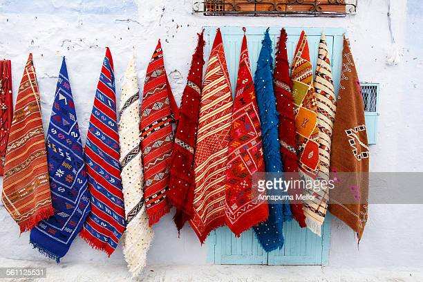 Fabrics on the walls of Chefchaouen, Morocco