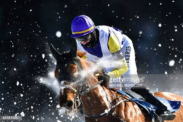 TOPSHOT Fabris Jindrich with his horse Hello Goodby competes during the flat race of the White Turf horse racing event in St Moritz on February 19...