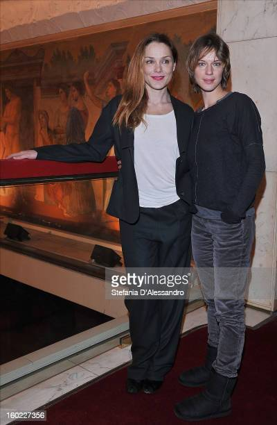 Fabrizia Sacchi and Antonia Liskova attend 'Il Gioco dell'Amore e del Caso' Photocall held at Teatro Manzoni on January 28 2013 in Milan Italy