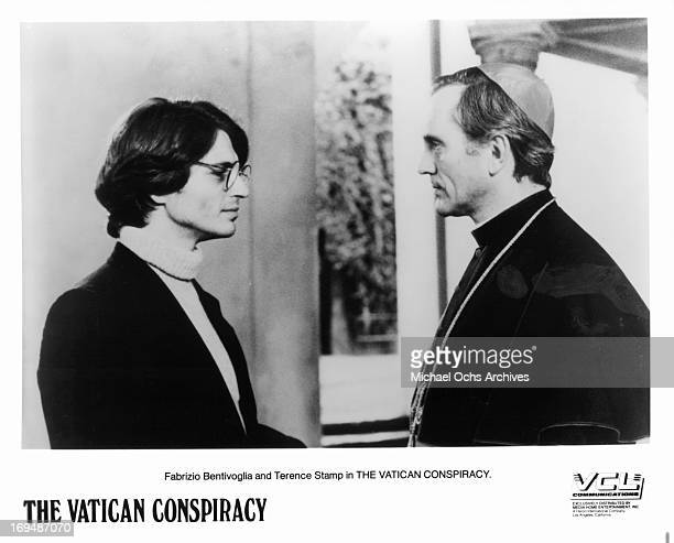 Fabrizio Bentivoglio talks to Terence Stamp in a scene from the film 'Vatican Conspiracy' 1982