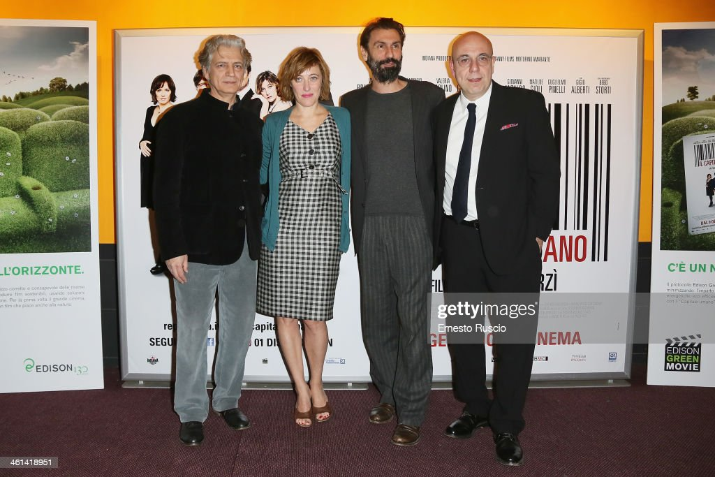Fabrizio Bentivoglio, Valeria Bruni Tedeschi and director <a gi-track='captionPersonalityLinkClicked' href=/galleries/search?phrase=Paolo+Virzi&family=editorial&specificpeople=3021843 ng-click='$event.stopPropagation()'>Paolo Virzi</a> attend the 'Il Capitale Umano' Premiere at The Space Moderno on January 8, 2014 in Rome, Italy.