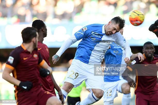 Fabrizio Cacciatore of AC Chievo take the ball during the Serie A match between AC Chievo Verona and AS Roma at Stadio Marc'Antonio Bentegodi on...