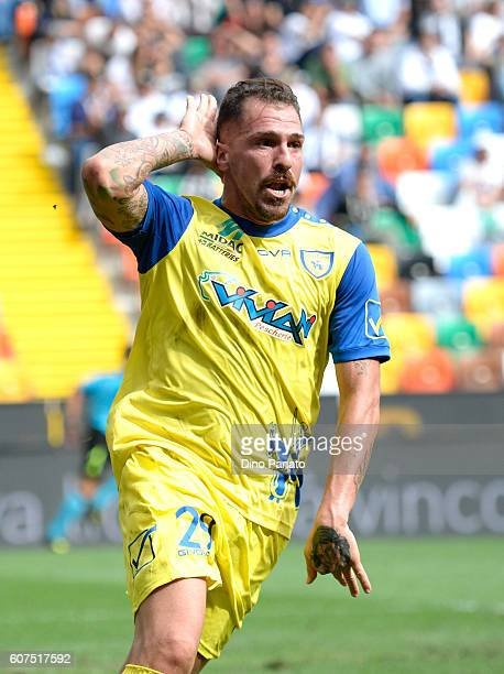 Fabrizio Cacciatore of AC ChievoVerona celebrates after scoring his team's second goal during the Serie A match between Udinese Calcio and AC...