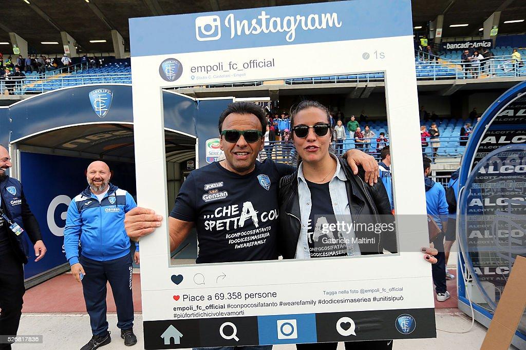 Fabrizio Corsi president of Empoli and Rebecca Corsi manager-marketing of Empoli Fc celebrates the victory the Serie A match between Empoli FC and Bologna FC at Stadio Carlo Castellani on May 1, 2016 in Empoli, Italy.