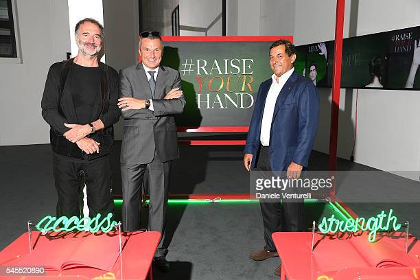 Fabrizio Ferri JeanChristophe Babin and Claudio Tesauro attend the press conference durind the Bvlgari and Save The Children Unveiling of...