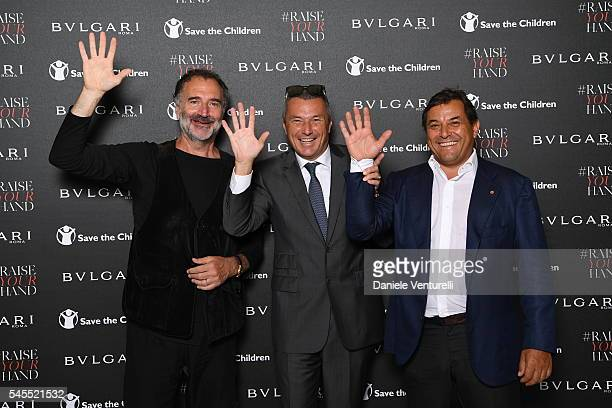 Fabrizio Ferri JeanChristophe Babin and Claudio Tesauro attend the Bvlgari and Save The Children Unveiling of #RaiseYourHand Campaign at Maxxi Museum...