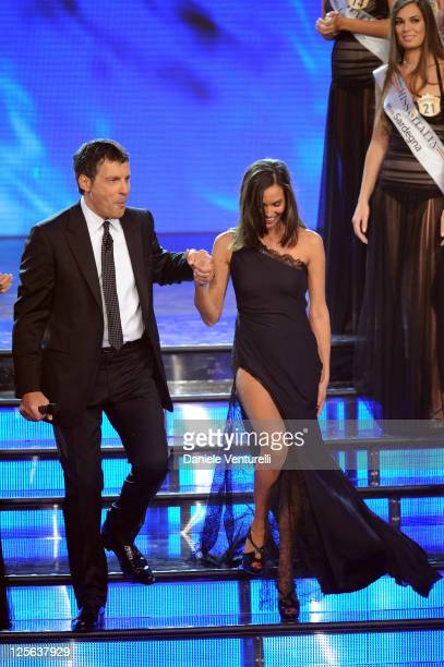 Fabrizio Frizzi and Ines Sastre attend the 2011 Miss Italia beauty pageant at the Palazzetto of Montecatini on September 19 2011 in Montecatini Terme...