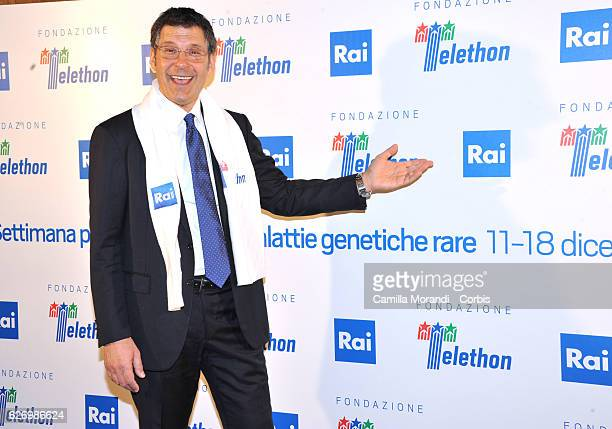 Fabrizio Frizzi attends the 'Telethon' Press Conference on December 1 2016 in Rome Italy
