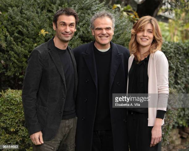 Fabrizio Gifuni director Marco Turco and Vittoria Puccini attend 'C'Era Una Volta La Citta Dei Matti' TV fiction photocall at RAI Viale Mazzini on...
