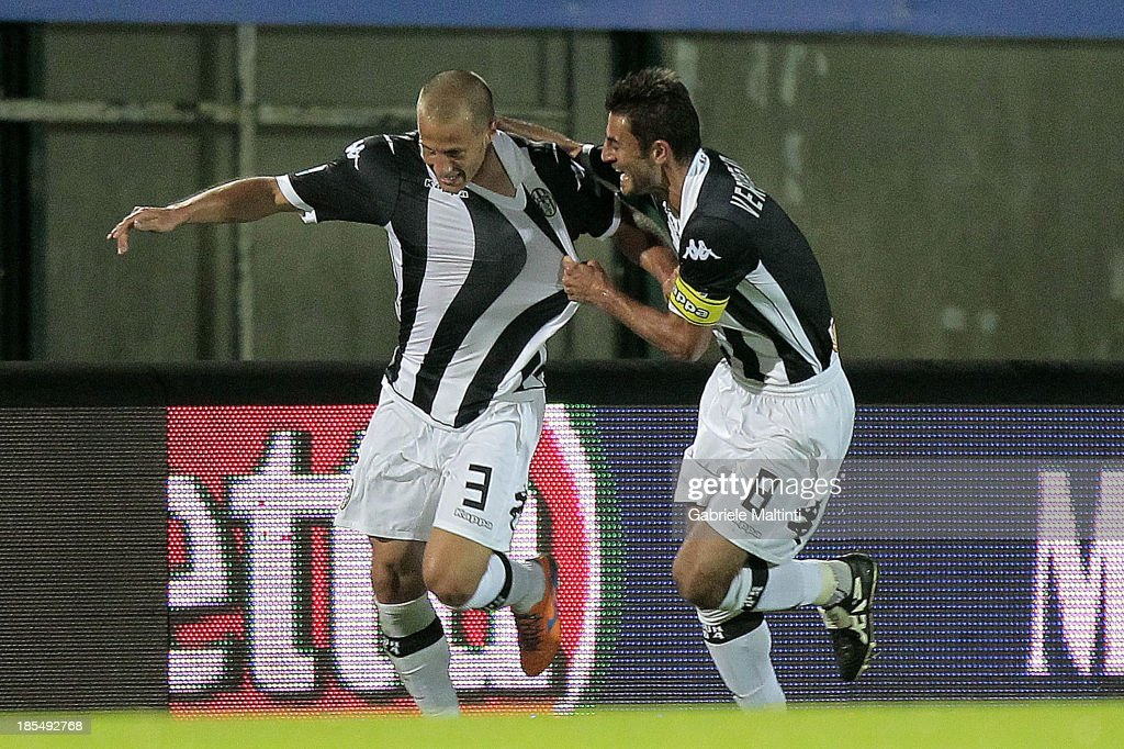 Fabrizio Grillo (L) of AC Siena celebrates after scoring a goal during the Serie B match between AC Siena and US Citta di Palermo at Artemio Franchi - Mps Arena on October 21, 2013 in Siena, Italy.