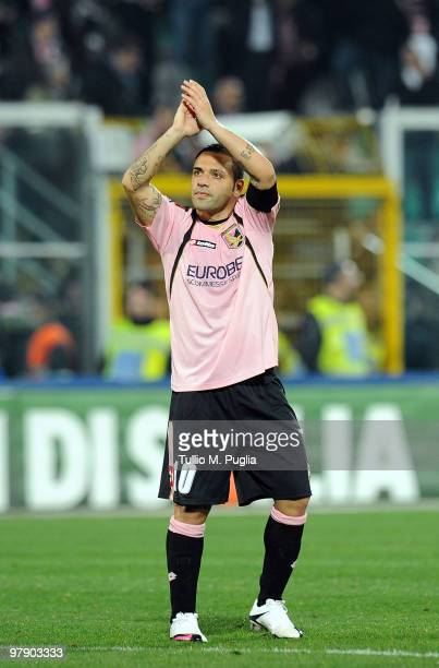 Fabrizio Miccoli of Palermo acknowledges supporters during the Serie A match between US Citta di Palermo and FC Internazionale Milano at Stadio Renzo...