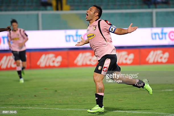 Fabrizio Miccoli of Palermo celebrates after scoring a goal during the Coppa Italia TIM Cup match between US Citta di Palermo and SPAL of Ferrara at...